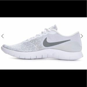 White and grey Nike women's flex running shoes